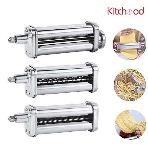 Kitchood Pasta Maker Attachment 3-Piece Set for KitchenAid Stand Mixers, Accessories Include Pasta Sheet Roller, Fettuccine and Spaghetti Cutter, Pasta Attachments Compatible with All KitchenAid