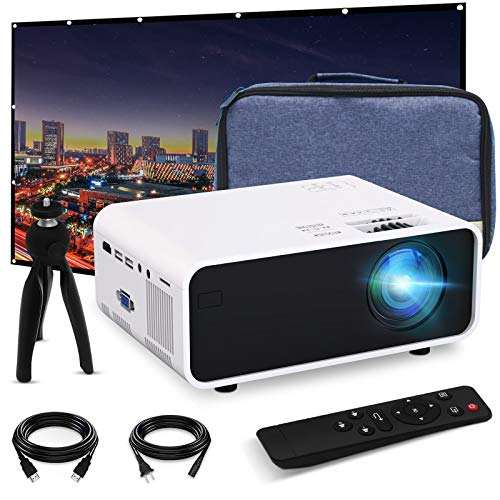 Mini Video Projector, EFFUN Outdoor Movie Projector with Projector Screen, 1080P HD Supported, Home Theater Projector, Portable LED Video Projector Compatible with HDMI, VGA, USB, TF, iPhone, iPad