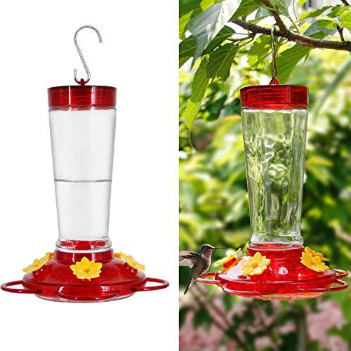 Joliyoou Hummingbird Feeder, 10 Onces Fluid Flower Bird Feeder for Outdoors (Red and Yellow Flower)