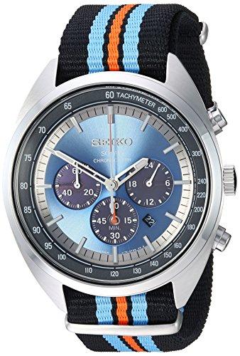 Seiko Men's RECRAFT Series Stainless Steel Japanese-Quartz Watch with Nylon Strap, Black, 21.65 (Model: SSC667)