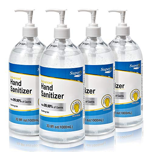 Superfy Hand Sanitizer Gel with Pump, 4 Pack of 33.8 oz, Press Hand Washer with 70% Alcohol Quick-drying (135oz total)