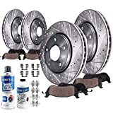 Detroit Axle - All (4) Front and Rear Drilled and Slotted Disc Brake Kit Rotors w/Ceramic Pads w/Hardware & Brake Kit Cleaner for 2002 2003 2004 2005 Dodge Ram 1500 - [04-06 Durango]