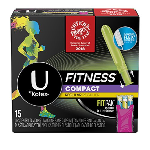 U by Kotex Unscented Regular Absorbency Fitness Tampons with Fit Pak, 15 Count
