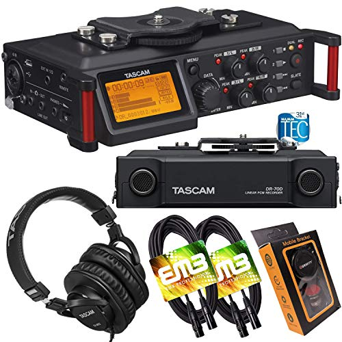 Tascam DR-70D 4-Track Portable Audio Recorder for DSLR Camera with Pro Headphone and Pair of EMB XLR Cables and Gravity Magnet Phone Holder Bundle