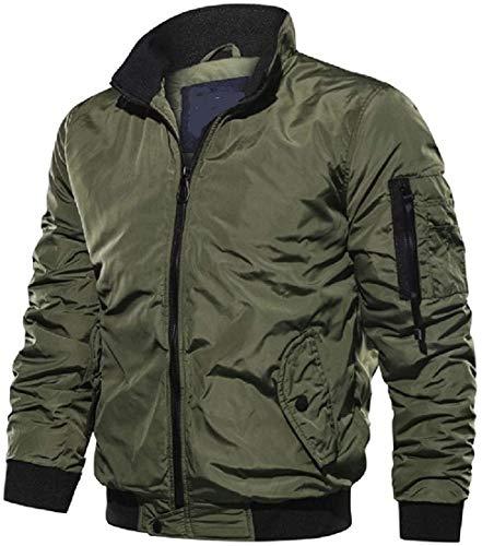 Ghsywgy Men Fashion Long-Sleeve Jackets Zipper Military Plus Size Slim Jackets,Army Green,Medium
