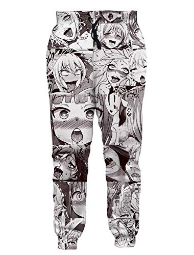 Fromdream Ahegao Sweatpants Mens Plus Size Otaku Anime Trousers Long Pants Work Out Gym Clothes Home Vacation Apparel XXL