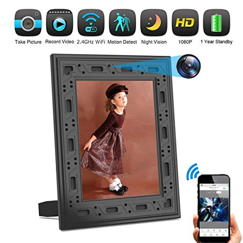 Hidden Camera DICPHIL Spy Camera Photo Frame Home Security Camera Wireless HD 1080P with Night Vision PIR Detection 1 Year Standby Cell Phone APP Instant Alerts for Home and Office
