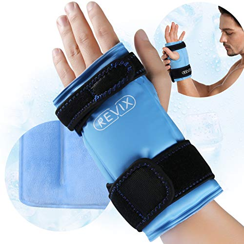 REVIX Wrist Ice Wrap for Carpal Tunnel and Hand Pain Relief, Reusable Ice Pack for Wrist Injuries from Cold Compress Therapy, Refreezable Gel Brace, 1 Pack