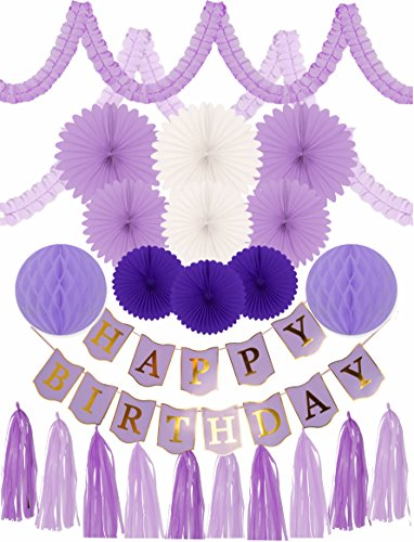PURPLE BIRTHDAY DECORATION SET FOR GIRL, PURPLE BIRTHDAY DECORATION SET, 24 PC - Party Decorations and Supplies - Purple Happy Birthday Banner (Happy Birthday Decoration)