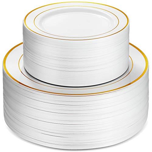 100 Piece Plastic Party Plates White Gold Rim, 50 Premium Heavy Duty 10.25 Inch Dinner Plates and 50 Disposable 7.5 Inch Dessert Appetizer Elegant Fancy Heavy Duty Wedding Plates