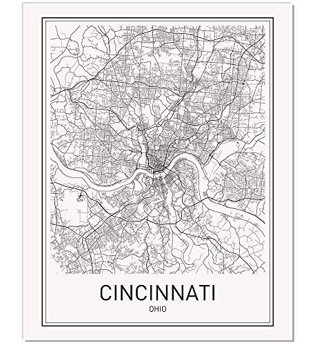 Cincinnati Poster Cincinnati Map Map of Cincinnati City Map Posters Modern Map Art City Prints Unframed Art Minimal Print Map Poster City Poster City Map Wall Art Minimalist Posters 8x10