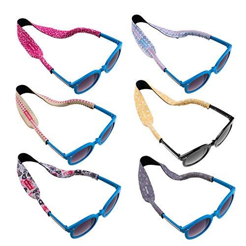 Ava & Kings 6pc Kids Neoprene Glasses Holder Neck Strap Sports Retainer - Girls