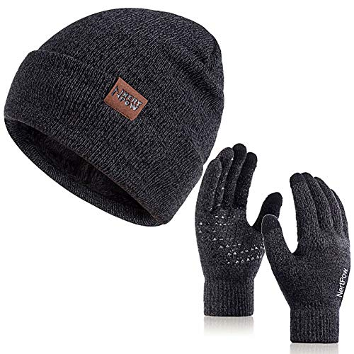 Winter 1-3 PCS Beanie Hat Gloves Scarf for Men and Women, Knit Thick Fleece Lined Warm Touchscreen Gloves Beanie Infitiny Scarf Set (Gloves&Beanie Black Dark Gray)