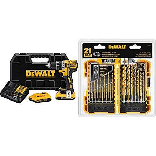 DEWALT DCD791D2 20V MAX XR Li-Ion 0.5' 2.0Ah Brushless Compact Drill/Driver Kit with DEWALT DW1361 Titanium Pilot Point Drill Bit Set, 21-Piece