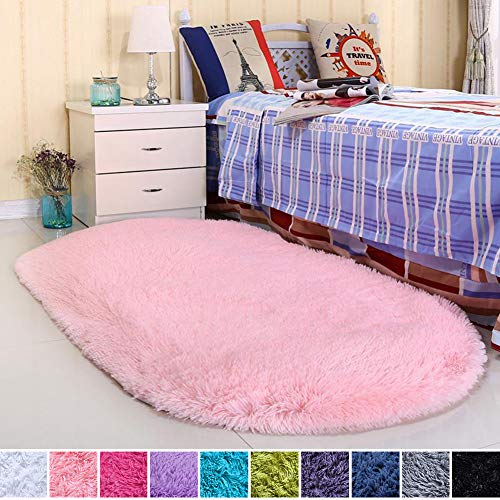 Noahas Ultra Soft Velvet Bedroom Rugs Kids Room Carpet Modern Shaggy Area Rugs Home Decor 2.6' X 5.3', Pink