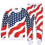 Patriotic Emoji American Flag Casual Sweater Pants Sweatshirt Sweatsuits