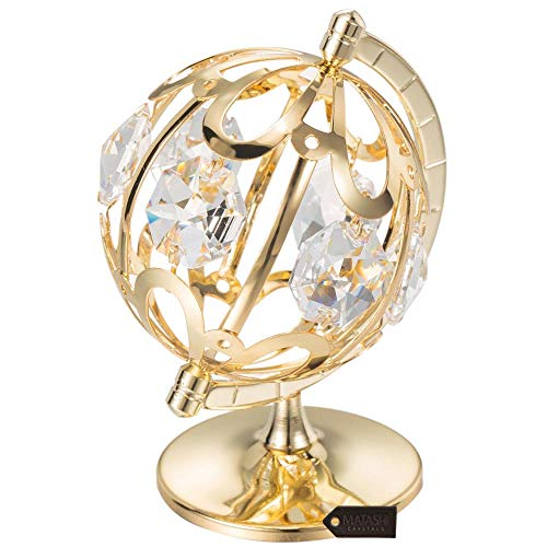 Matashi 24K Gold Plated Crystal Studded Spinning Globe Ornament