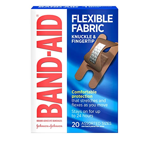 Band-Aid Brand Flexible Fabric Adhesive Bandages for Comfortable Flexible Protection & Wound Care of Minor Cuts & Scrapes, Finger and Knuckle, 20 ct (Pack of 2)