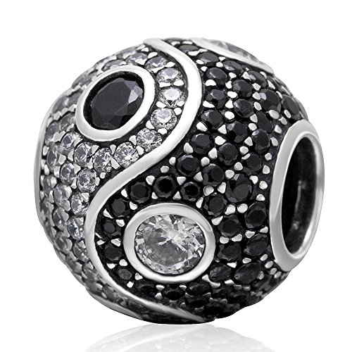 Tai Chi Charm 925 Sterling Silver Yin Yang Charm Gossip Beads fit for DIY Bracelet & Necklace (Black)