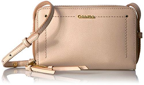 Calvin Klein womens Calvin Klein Boxy Mercury Leather Zip Around Crossbody, desert taupe, One Size