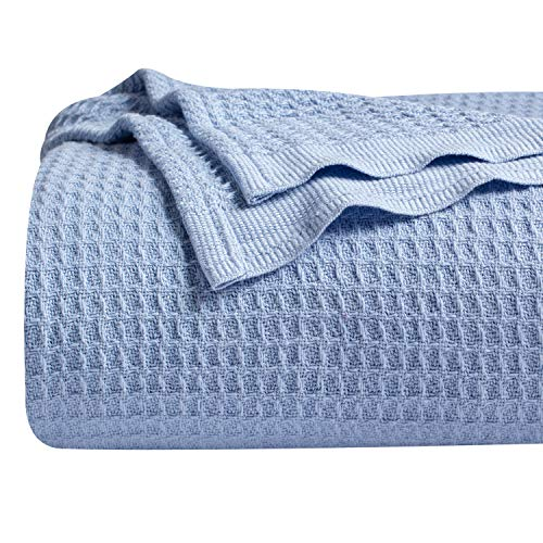 Bedsure 100% Cotton Blanket Waffle Weave Blanket Blue Blanket Queen - 405GSM Lightweight Blanket for Bed Couch, Soft Blanket for All Season, Cotton Thermal Blanket, 90 x 90 inches