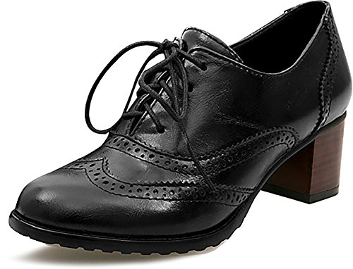 Odema Womens PU Leather Oxfords Wingtip Lace up Mid Heel Pumps Shoes … Black