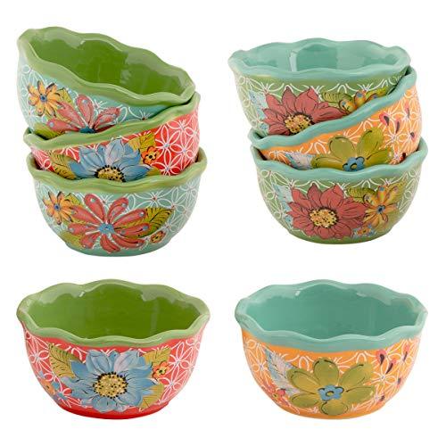 Gibson (8 Piece) Laurie Gates Dishes 4 Inch Porcelain Nappy Fruit Bowl Set Serving Bowls Salad Bowl Mixing Bowls