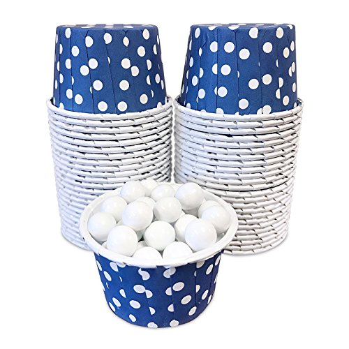 Candy Nut Mini Baking Paper Treat Cups - Navy Blue and White Polka Dot - 2 x 1.5 Inches - 48 Pack
