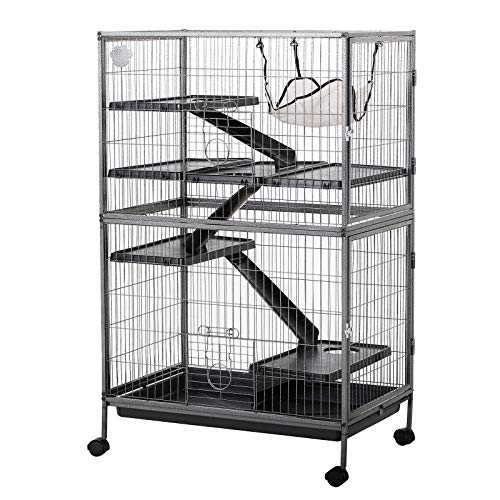 "PawHut 50"" 4 Tier Steel Plastic Small Animal Pet Cage Kit with Wheels - Silver Grey Hammertone"