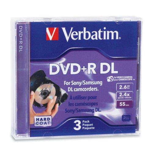 Verbatim 2.6GB 2.4X Mini Double Layer Recordable Disc DVD+R DL, 3-Disc Jewel Case 95313