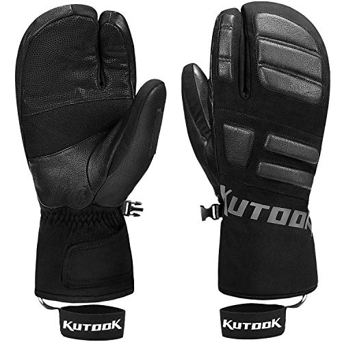 KUTOOK Snowboarding Gloves Ski Mittens Men Snow Mittens Women Three Finger Gloves 3M Thinsulate Thermal Waterproof Winter Black Large