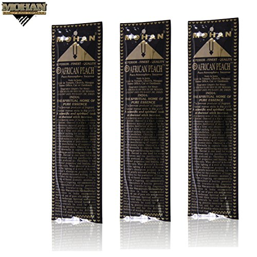 Mohan Incense African Peach Scents Pack 250 Sticks (9.2 Inches Tall) - Makers of the World Famous Khush Scent - Premium Pure Charcoal Incense Hand Rolled in the Finest Herbs, Spices, Oils, Honey, and Sandalwood Powder