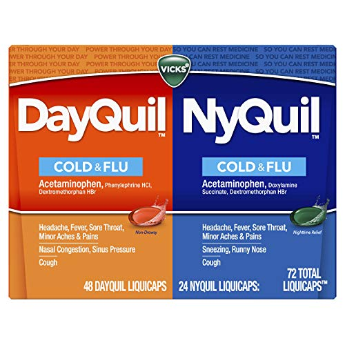 Vicks Dayquil and Nyquil Cough, Cold and Flu Relief, 72 LiquiCaps (48 Dayquil, 24 Nyquil) - Sore Throat, Fever, and Congestion Relief