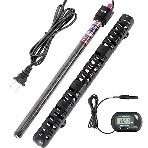 300w 150w 50w Submersible Aquarium Heater Auto Thermostat Heater with Suction,LED Small Mini Temperature Display Aquarium Fish Tank Heater for Fish Tank Water (Bonus Thermometer)