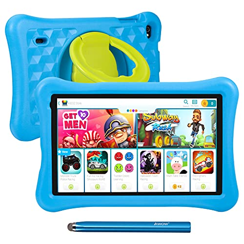 10.1 inch Kids Tablets Android 10 Go, 2+32GB ROM, KIDOZ Pre-Installed, 2.4G WiFi only, 1024x600 Touchscreen, AWOW Funtab 1001, Adjustable Kid-Proof Case, Active Pen (10.1-inch-KIDOZ-232-Blue)