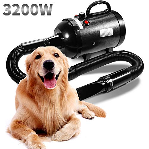 AIIYME Dog Dryer, 3200W/4.3HP Motor Stepless Adjustable High Speed Dog Hair Dryer Pet Hair Force Dryer Pet Dog Grooming Dryer Blower with Heater, Professional High Velocity Air Forced Dryer for Dogs