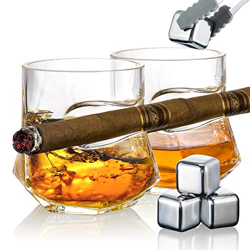 YouYah Cigar Whiskey Glasses with Indented Cigar Rest-Set of 2 with 4 Ice Cubes&Tong,Hexagon Crystal Whisky Glass with Cigar Holder,Cigar Accessories,Rocks Glass,Gifts for Men(10.2oz)