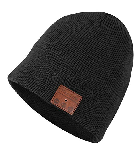 HaetFire Wireless Music Beanie Hat with Bluetooth Headphones Earphone, Unisex Winter Warm Knit Running Cap Stereo Speakers Mic for Men Women Outdoor Fitness Compatible with iPhone Android (Black)