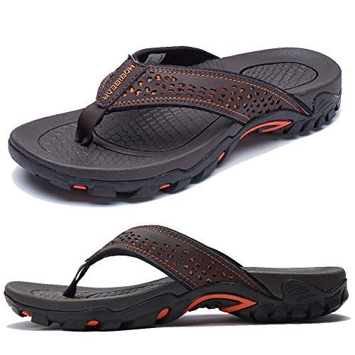 KIIU Mens Flip Flop Indoor and Outdoor Thong Sandals Beach Slippers Brown, 44