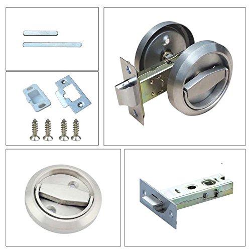 Stainless Steel 304 Corridor Door Locks Doorknobs Cabinet Furniture Hidden Recessed Cup Install Privacy Sliding Door Lock Without Keys Pack of 1