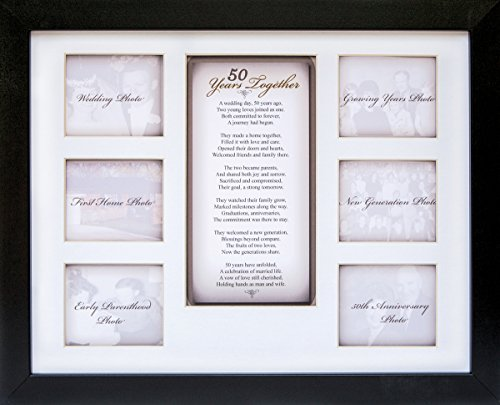 """The Grandparent Gift Co. 50th Anniversary Collage Picture Frame - 11""""x14"""" Photo Wall Frame with 6 (3"""" x 2.75"""") Openings and a Beautiful Poem Displayed in Center - """"50 Years Together"""""""