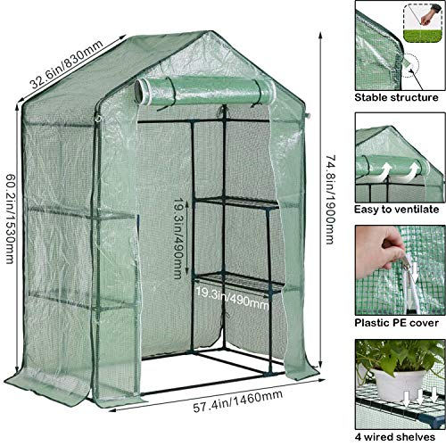 Portable Mini Indoor or Outdoor Greenhouse, Plant Shelves Tomato Herb Canopy Winter Walk-in Green House for Patio, Best Plastic Mini Greenhouse Kit, Small Portable Greenhouse - 4.9'L x 2.4'W x 6.4'H