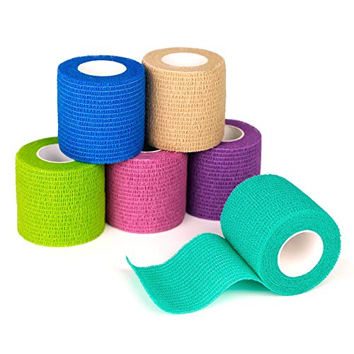 FriCARE Nonwoven Self-Adhesive Bandage, Self-Adherent Cohesive First Aid Medical Wrap, Elastic Athletic/Vet Tape for Wrist 2 Inches Wide (Rainbow, 6 Pack)