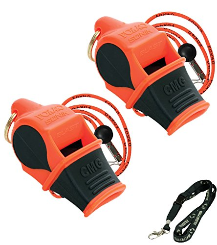 Fox 40 Sonik Blast CMG Loudest Pealess Outdoor, Emergency, Safety, Survival Whistle + Breakaway Lanyards | 2pk Bundle + Koala Lanyard, Orange Black