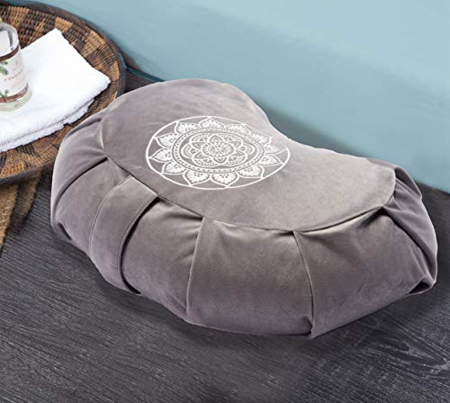 Florensi Meditation Cushion (16'x10'x5'), Velvet Meditation Pillows for Sitting on Floor, Premium Yoga Pillow for Women and Men, Half Moon Yoga Cushion, Buckwheat Meditation Cushions
