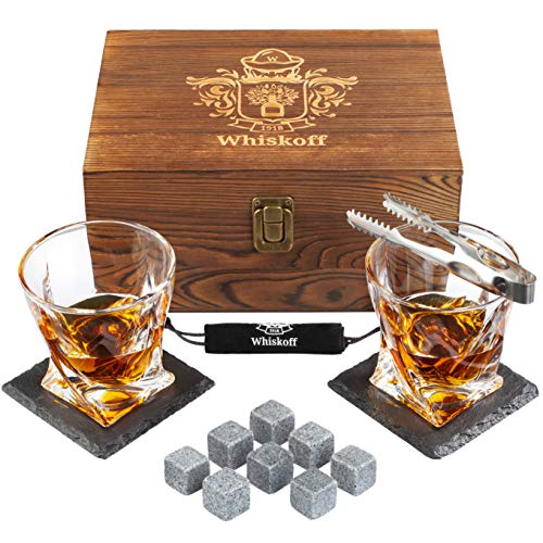 Whiskey Glass Set of 2 - Bourbon Whiskey Stones Gift Set - Rocks Whisky Chilling Stones - Scotch Glassess Gift in Wooden Box - Wisky Stones Set - Burbon Gifts for Men Dad for Birthday Fathers Day