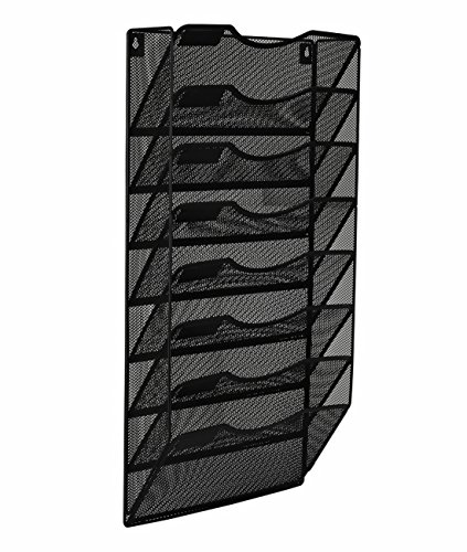 EasyPAG 8 Pocket Metal Wall File Holder Hanging File Folder Organizer Magazine Rack,Black