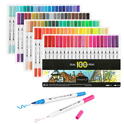 100 Dual Tip Brush Pens, Magicfly Water Coloring Markers with Fineliner Tip 0.4 and Highlighters Brush Tip Markers(1mm-2mm), Markers for Adult Coloring Book, Calligraphy, Manga, Bullet Journal