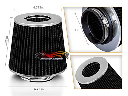 BLACK 3' 76 mm Inlet Cold Air Intake Cone Replacement Performance Washable Clamp-On Dry Air Filter