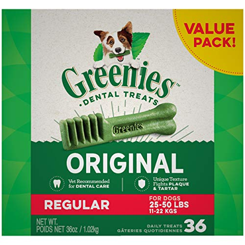 GREENIES Original Regular Natural Dog Dental Care Chews Oral Health Dog Treats, 36 oz. Pack (36 Treats)